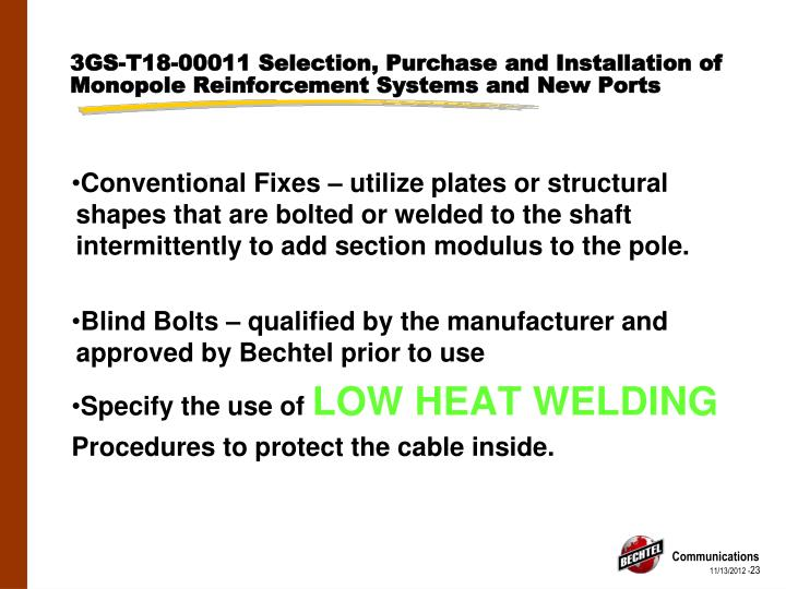 3GS-T18-00011 Selection, Purchase and Installation of Monopole Reinforcement Systems and New Ports