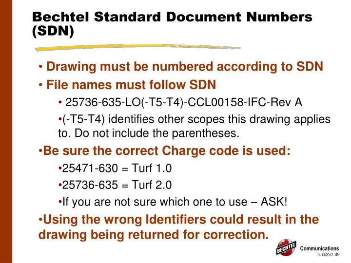 Bechtel Standard Document Numbers (SDN)