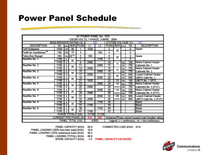 Power Panel Schedule