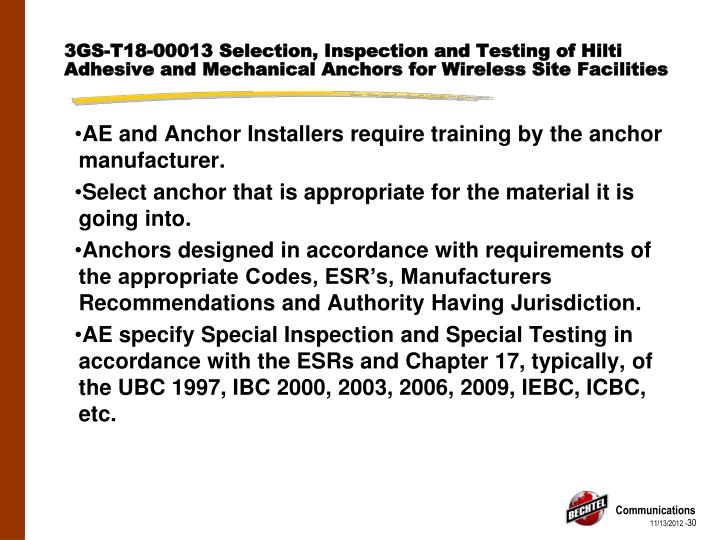 3GS-T18-00013 Selection, Inspection and Testing of Hilti Adhesive and Mechanical Anchors for Wireless Site Facilities