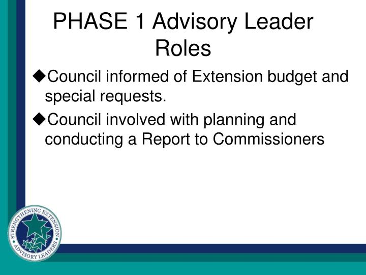 PHASE 1 Advisory Leader Roles