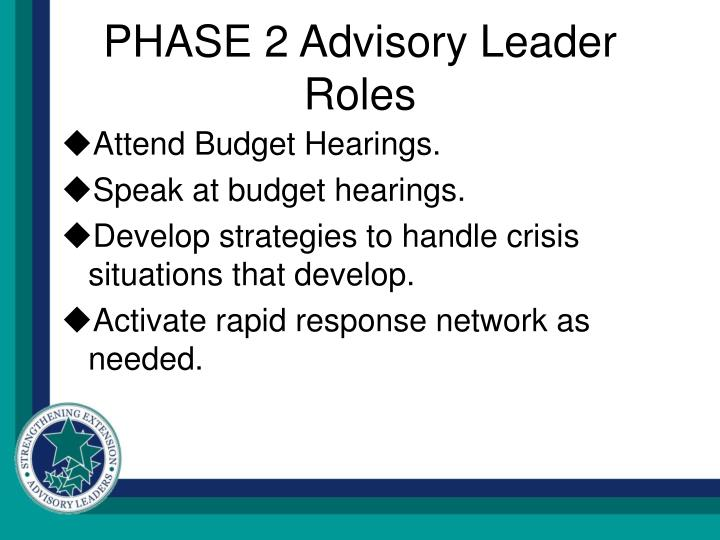 PHASE 2 Advisory Leader Roles