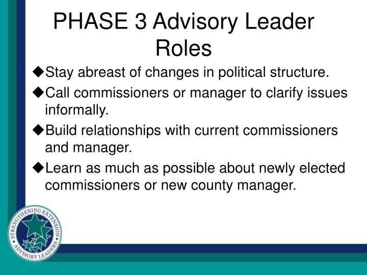 PHASE 3 Advisory Leader Roles