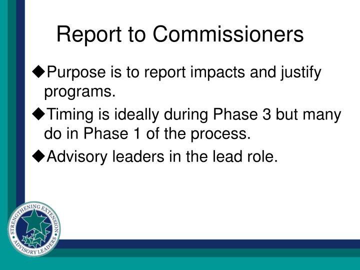 Report to Commissioners