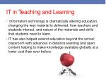 it in teaching and learning