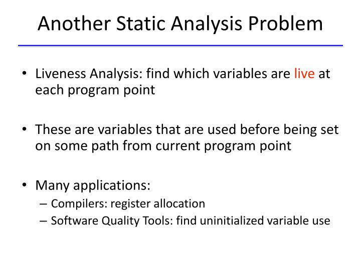 Another Static Analysis Problem
