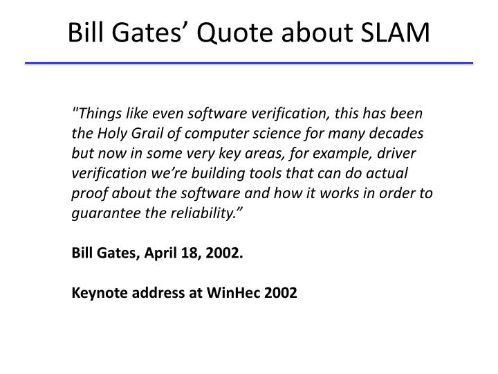 Bill Gates' Quote about SLAM