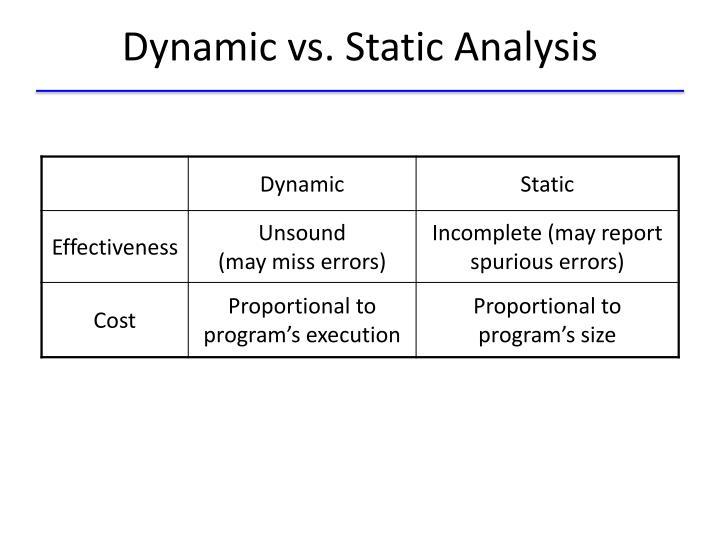 Dynamic vs. Static Analysis