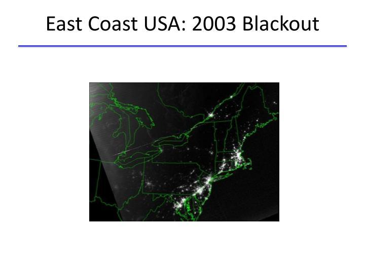 East Coast USA: 2003 Blackout