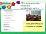 cbm testing materials developed for aimsweb include