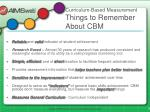 curriculum based measurement things to remember about cbm