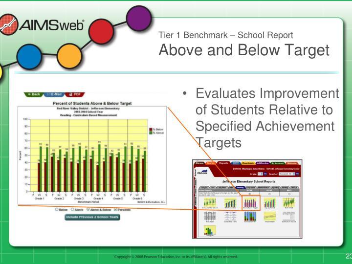 Tier 1 Benchmark – School Report