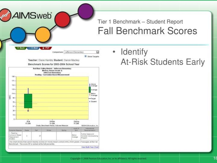 Tier 1 Benchmark – Student Report