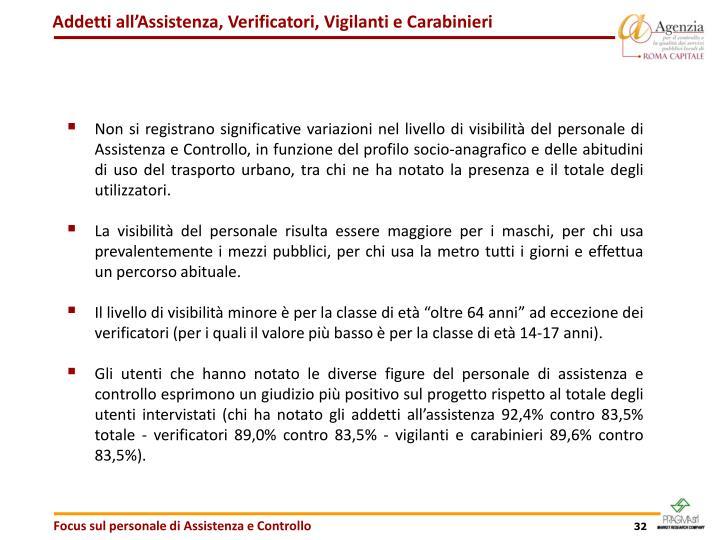 Addetti all'Assistenza, Verificatori, Vigilanti e Carabinieri