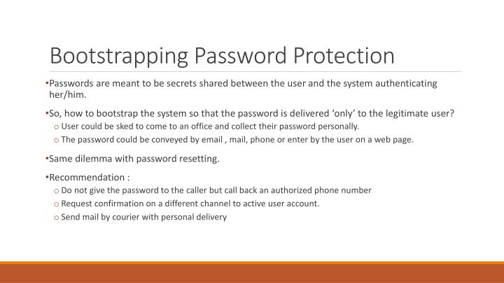Bootstrapping Password Protection