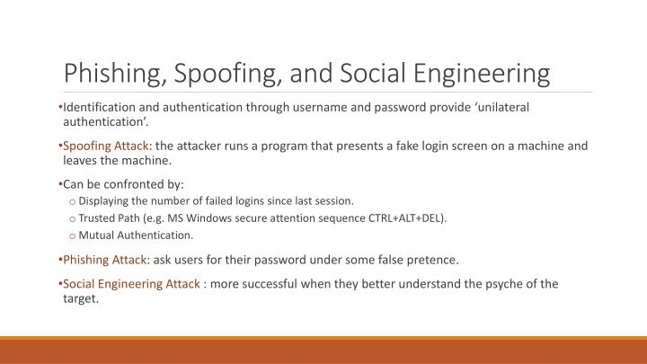 Phishing, Spoofing, and Social Engineering