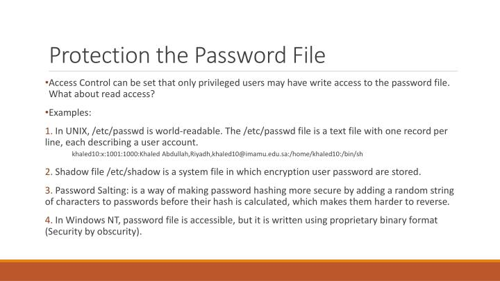 Protection the Password File