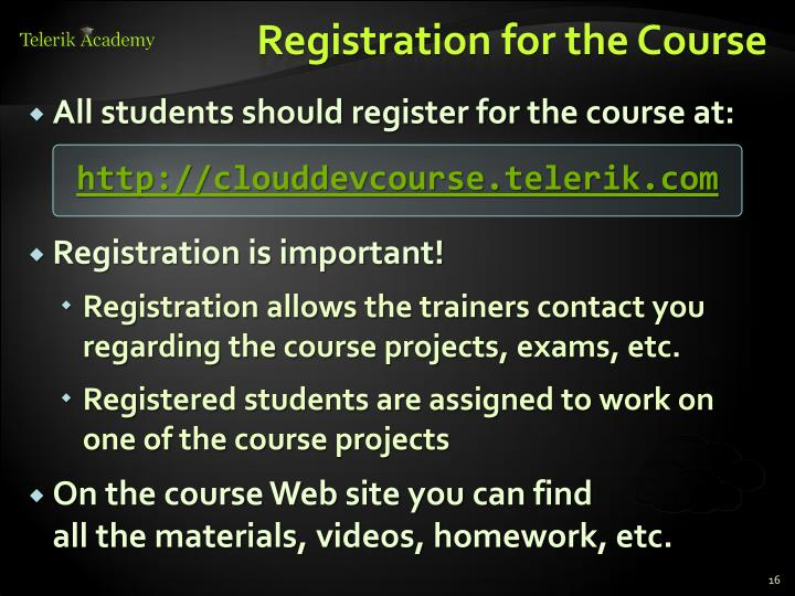 Registration for the Course