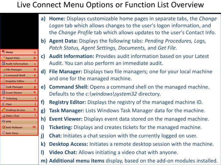 Live Connect Menu Options or Function List Overview