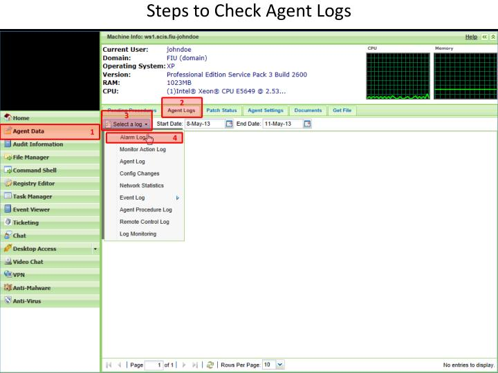 Steps to Check Agent Logs