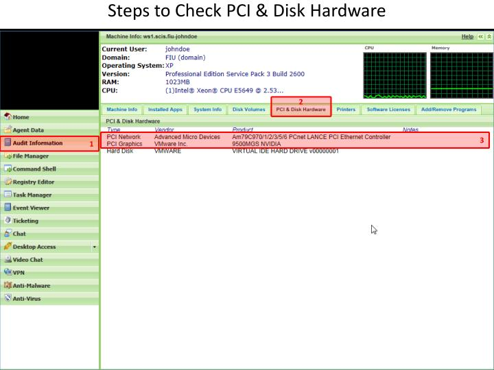Steps to Check PCI & Disk Hardware