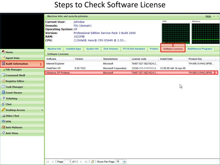Steps to Check Software License