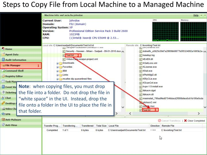 Steps to Copy File from Local Machine to a Managed Machine