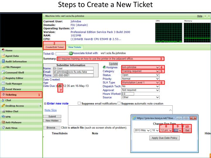 Steps to Create a New Ticket
