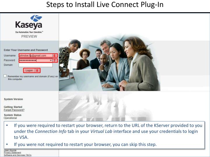 Steps to Install Live Connect Plug-In