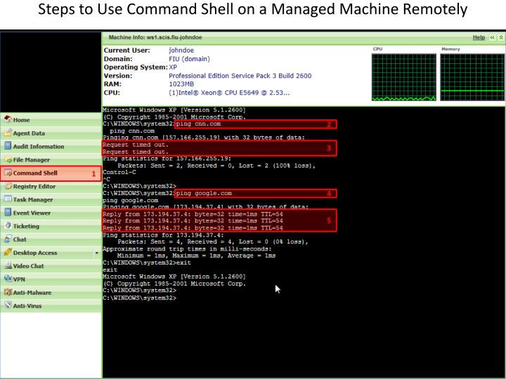 Steps to Use Command Shell on a Managed Machine Remotely