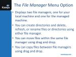 the file manager menu option