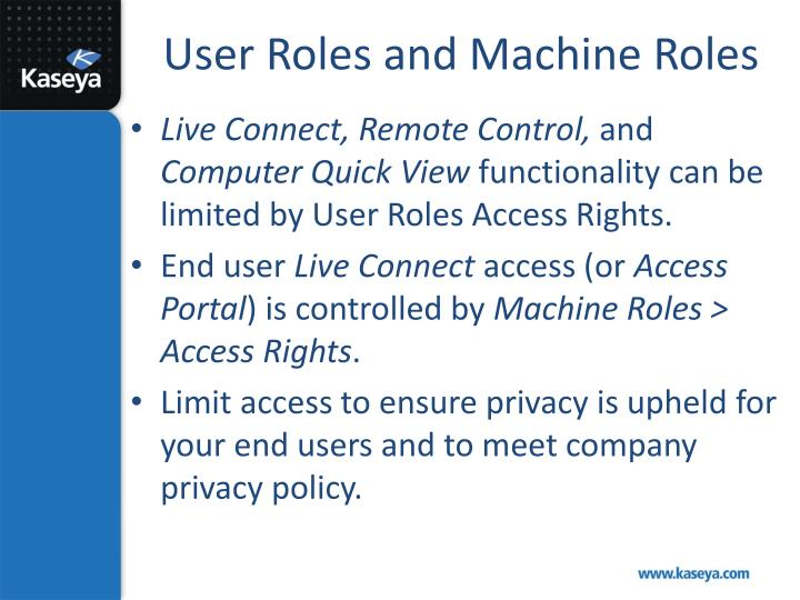 User Roles and Machine Roles