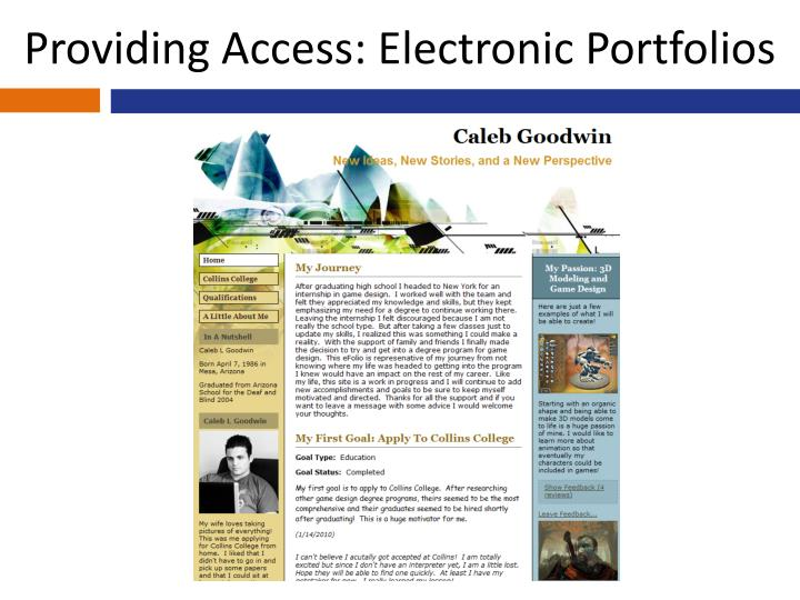 Providing Access: Electronic Portfolios