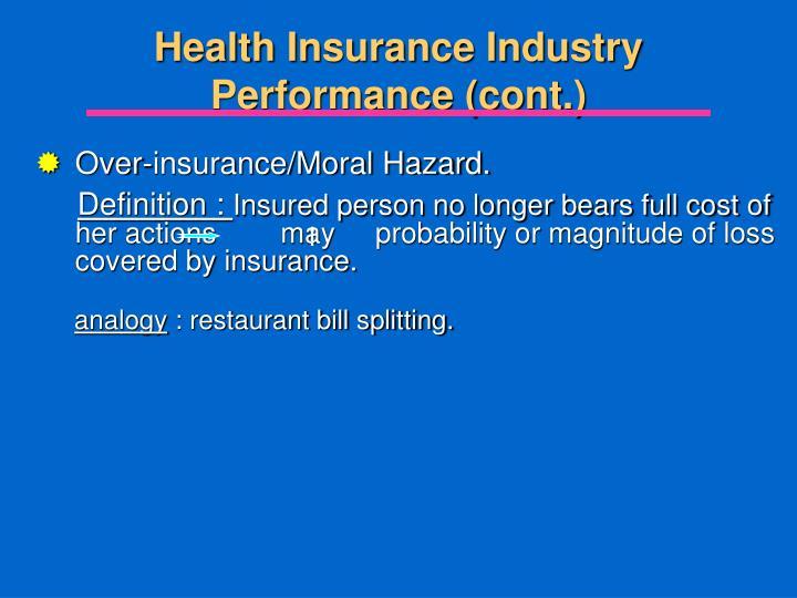 Over-insurance/Moral Hazard.