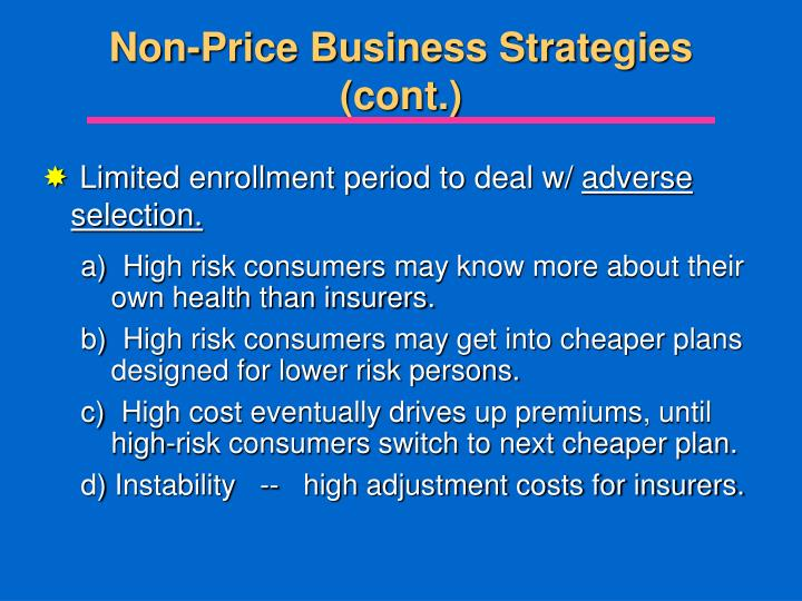 Non-Price Business Strategies (cont.)