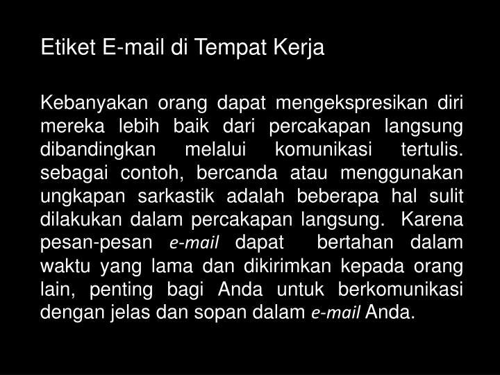 Etiket E-mail di Tempat