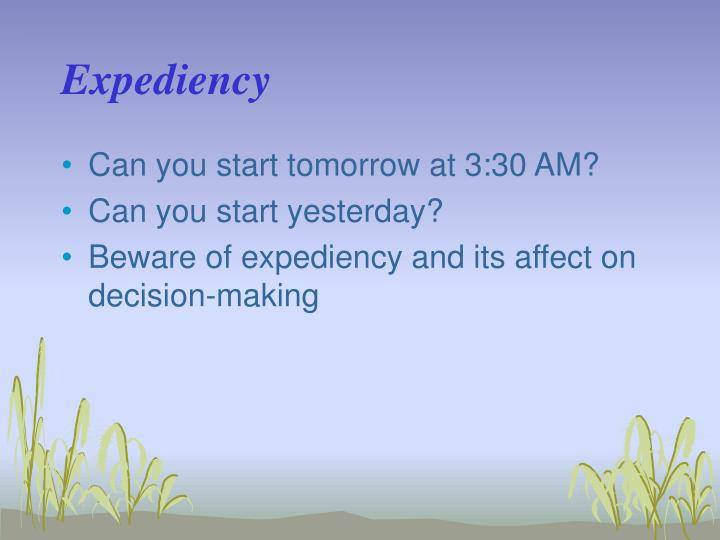 Expediency