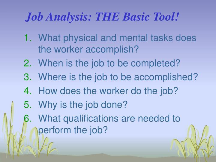 Job Analysis: THE Basic Tool!