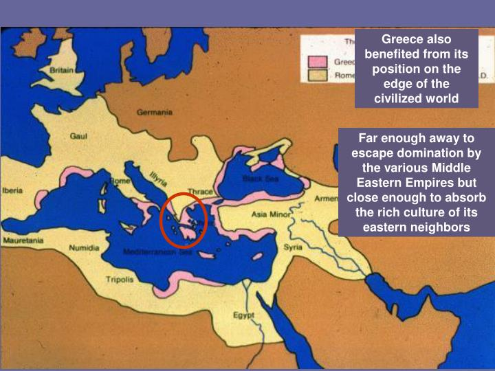 Greece also benefited from its position on the edge of the civilized world