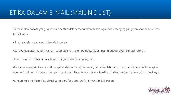 ETIKA DALAM E-MAIL (MAILING LIST)