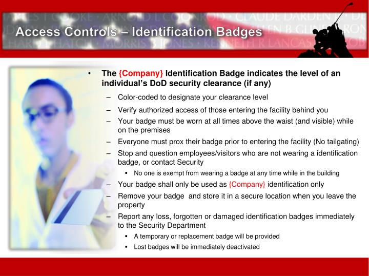 Access Controls – Identification Badges