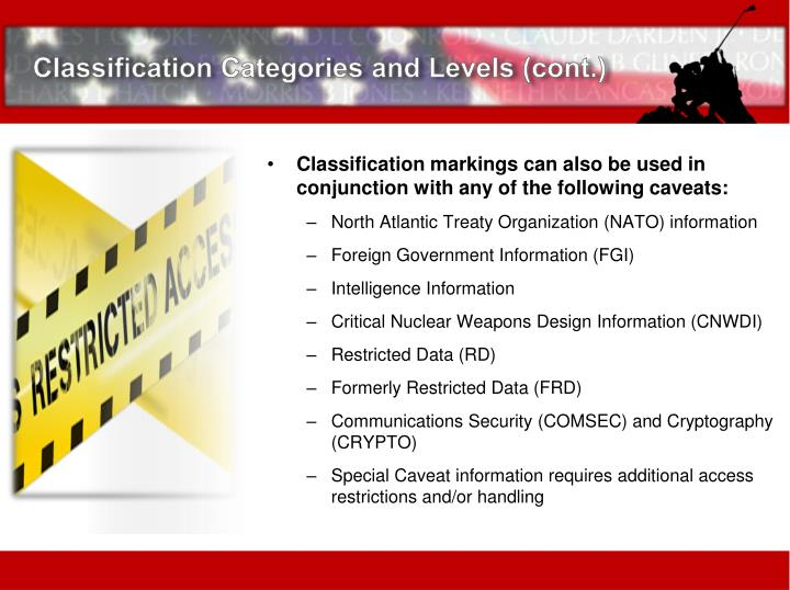 Classification Categories and Levels (cont.)