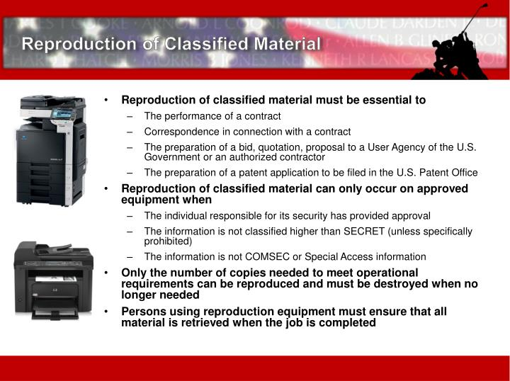 Reproduction of Classified Material