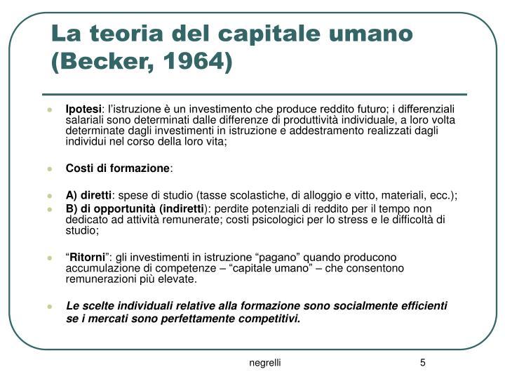 La teoria del capitale umano (Becker, 1964)