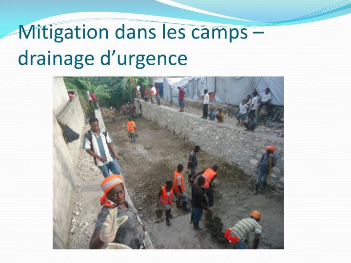 Mitigation dans les camps – drainage d'urgence