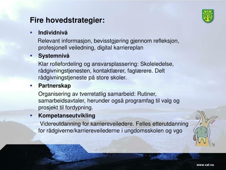 Fire hovedstrategier: