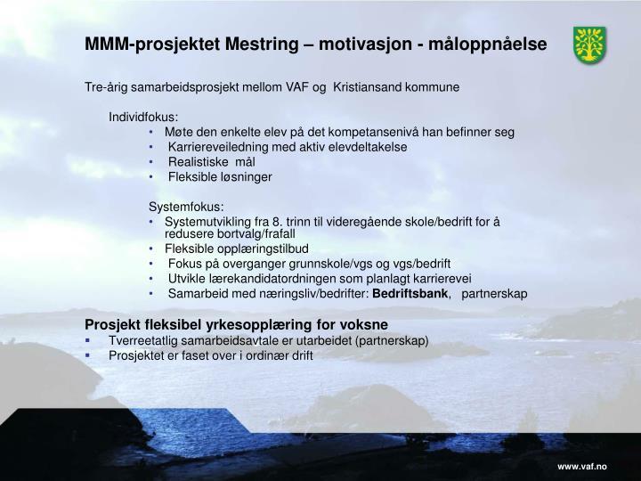 MMM-prosjektet Mestring – motivasjon - måloppnåelse