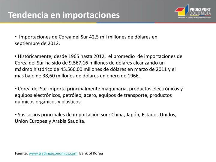 Tendencia en importaciones