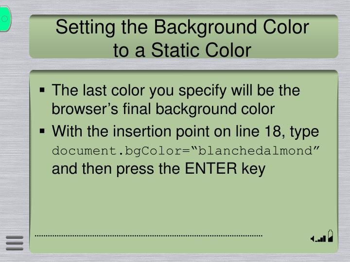 Setting the Background Color