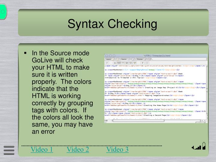 Syntax Checking